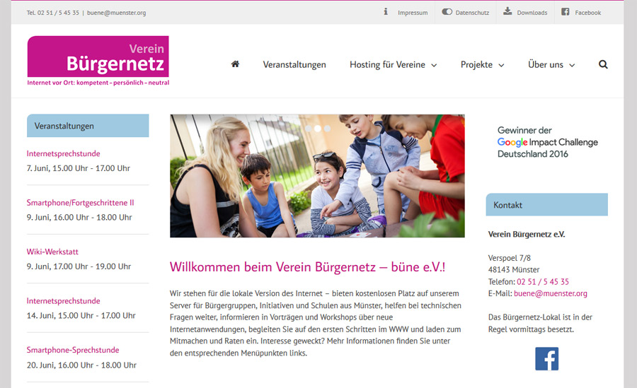 Verein Bürgernetz: Screenshot neue Seite