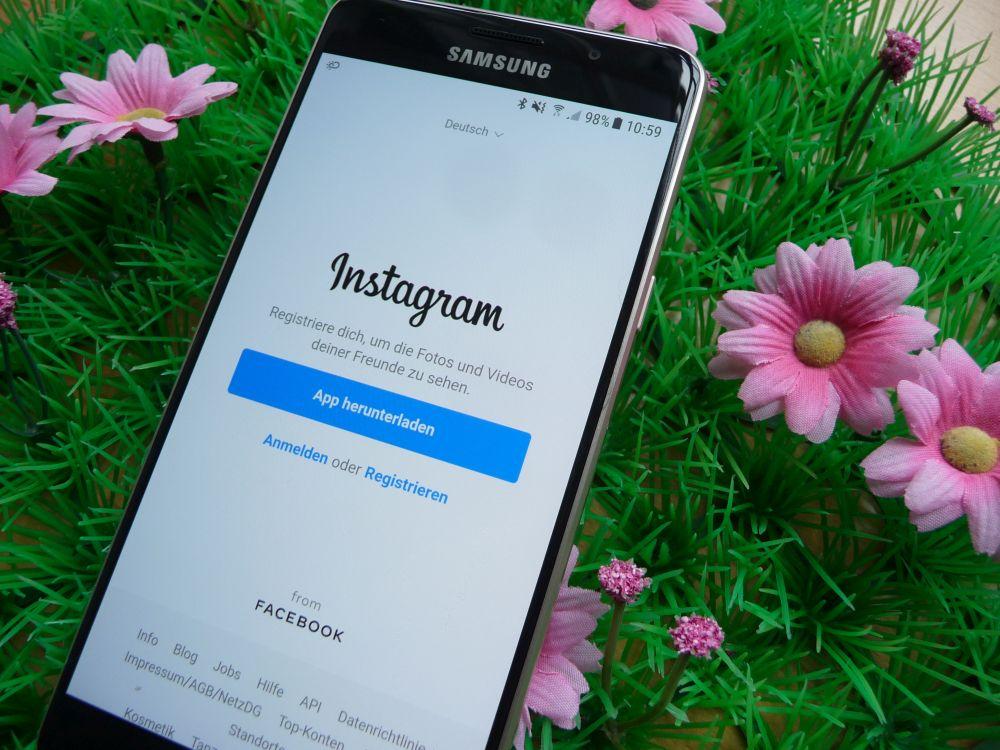 Smartphone mit Instagram-Seite und Blumen
